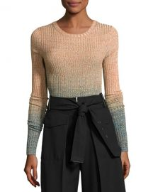 Acne Studios Marled Ombre Patch-Pocket Sweater  Turquoise Multi at Neiman Marcus