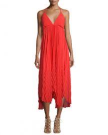 Adalyn Chiffon Halter Midi Dress  Red at Neiman Marcus