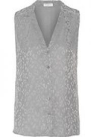 Adalyn leopard-jacquard washed-silk top at The Outnet