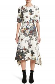 Adam Lippes Floral Print Trapeze Dress at Nordstrom