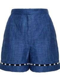 Adam Selman Pearl Embellished Linen Shorts - at Farfetch