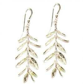 Addison Silver Leaf Earrings at Brooklyn Designs