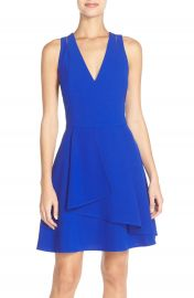 Adelyn Rae Asymmetrical Crepe Fit   Flare Dress at Nordstrom