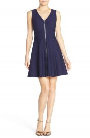 Adelyn Rae Back Cutout Fit and Flare Dress with Front Zipper Detail at Nordstrom