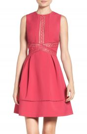 Adelyn Rae Lace Trim Fit   Flare Dress at Nordstrom