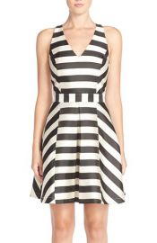 Adelyn Rae Stripe Cross Back Fit and Flare Dress in Black at Nordstrom