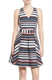 Adelyn Rae Stripe Jacquard Fit and Flare Dress at Nordstrom