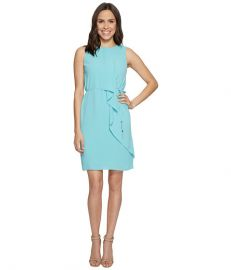 Adrianna Papell Gauzy Crepe Draped Front Dress at Zappos