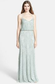 Adrianna Papell Beaded Chiffon Blouson Dress in mist at Nordstrom