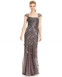 Adrianna Papell Cap-Sleeve Sequined Gown at Macys