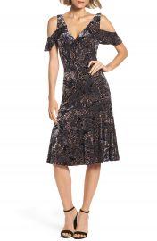 Adrianna Papell Cold Shoulder Velvet Burnout Dress at Nordstrom