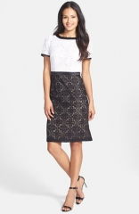 Adrianna Papell Colorblock Lace Sheath Dress at Nordstrom