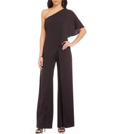 Adrianna Papell Crepe One Shoulder Jumpsuit at Dillards