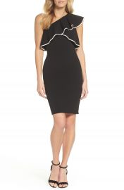 Adrianna Papell Crepe One-Shoulder Sheath Dress at Nordstrom
