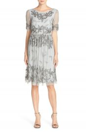 Adrianna Papell Elbow Sleeve Beaded Cocktail Dress at Nordstrom