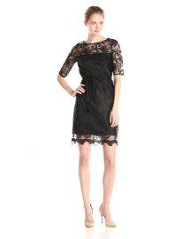 Adrianna Papell Elbow Sleeve Illusion Lace Sheath Dress at Amazon
