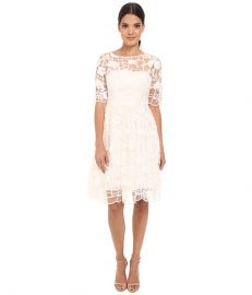 Adrianna Papell Embroidered Grid Party Dress Ivory at Zappos