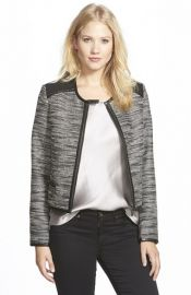 Adrianna Papell Faux Leather Trim Metallic Tweed Jacket at Nordstrom