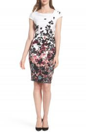 Adrianna Papell Floral Bliss Cowl Neck Sheath Dress at Nordstrom