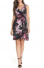 Adrianna Papell Floral Print Twist Front Dress at Nordstrom