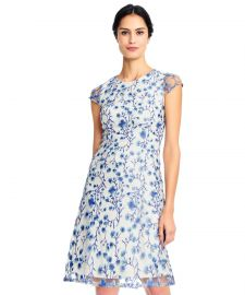 Adrianna Papell Floral Vine Embroidered Dress With Cap Sleeves at Bluefly