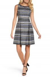 Adrianna Papell Herringbone Stripe Fit   Flare Dress at Nordstrom