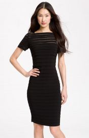 Adrianna Papell Illusion Bodice Pleated Jersey Sheath Dress in Black at Nordstrom