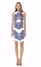 Adrianna Papell Lace Printed Mock Neck Sleeveless Dress at Amazon