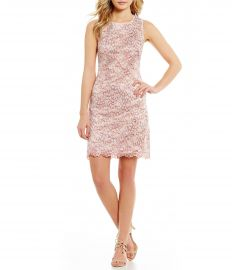 Adrianna Papell Nautilus Round Neck Sleeveless Ombre Lace Shift Dress at Dillards