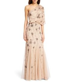 Adrianna Papell One Shoulder Gown at Dillards