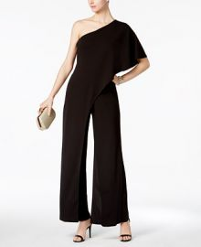 Adrianna Papell Petite Draped One-Shoulder Jumpsuit at Macys