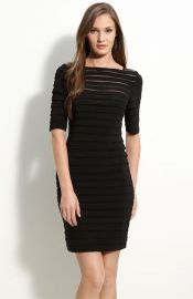 Adrianna Papell Pleated Illusion Sheath Dress at Nordstrom