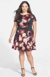 Adrianna Papell Print Block Scuba Knit Fit andamp Flare Dress at Nordstrom