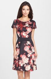 Adrianna Papell Print Scuba Fit andamp Flare Dress at Nordstrom