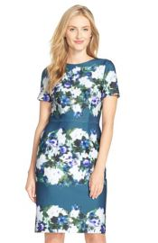 Adrianna Papell Print Scuba Sheath Dress in Teal at Nordstrom