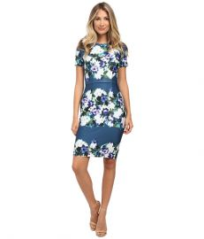 Adrianna Papell Printed Scuba Sheath Dress Teal Multi at Zappos