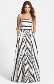 Adrianna Papell Ribbon Stripe Strapless Dress at Nordstrom