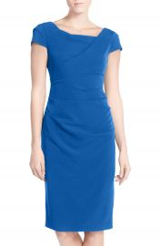 Adrianna Papell Ruched Matte Stretch Crepe Sheath Dress at Nordstrom
