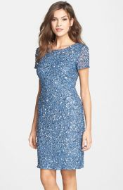Adrianna Papell Sequin Mesh Sheath Dress at Nordstrom