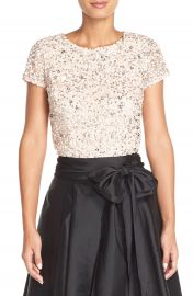 Adrianna Papell Sequin Mesh Top Blush at Nordstrom