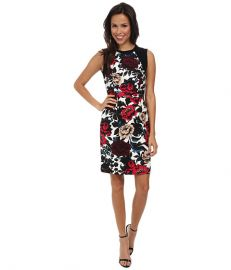 Adrianna Papell Sleeveless Dress w Sweater Trim Red Multi at 6pm