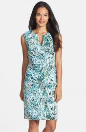 Adrianna Papell Surplice Floral Print Sheath Dress at Nordstrom