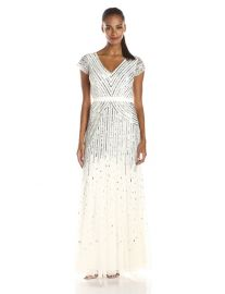 Adrianna Papell Womenand39s Long Beaded V-Neck Dress With Cap Sleeves and Waistband in Ivory at Amazon