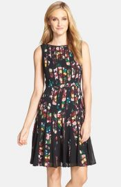Adrianna Papell and39Fractured Floraland39 Print Fit andamp Flare Dress at Nordstrom