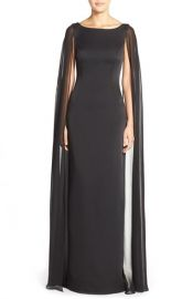 Adrianna Papelland160Satin Column Gown withand160Chiffon Cape at Nordstrom