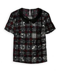 Aeropostale Womens Spencer Plaid Pullover Blouse at Amazon
