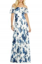 After Six Floral Chiffon Off the Shoulder Gown at Nordstrom
