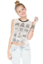 Agathe vintage camera graphic tank top by Brandy Melville at Brandy Melville