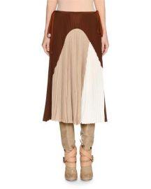 Agnona Colorblock Pleated Midi Skirt at Neiman Marcus