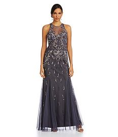 Aidan Mattox Beaded Illusion Gown at Dillards